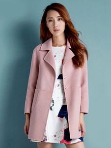 المرأة معطف عام2020الصوف الوردي معطف طويل الأكمام جيب معطف الشتاء