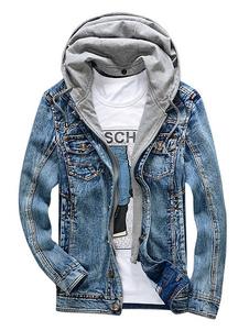 Мужская джинсовая куртка с капюшоном Короткая куртка Пэчворк Омывается Жан Куртка