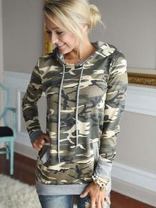 Camuflar Pullover Hoodie cordões algodão Casual Hoodie feminino