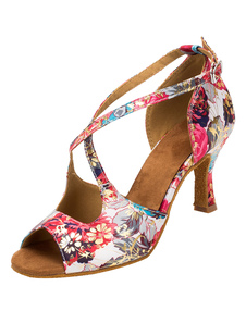 Ballroom vintage Shoes Floral impresso salto queimado Cruz cinta frontal dança sapatos para mulheres