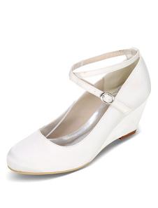 Sapatos De Casamento Branco Cunha Calcanhar Criss Cross Mãe Sapatos De Cetim Convidado Do Casamento Sapatos