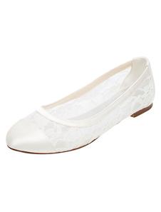 Sapatos de noiva renda plana marfim bombas redonda slip-on sapatos de noiva