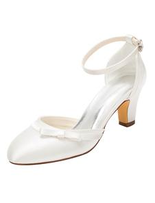 Sapatos De Casamento 2020 marfim salto alto salto alto tira no tornozelo sapatos de noiva
