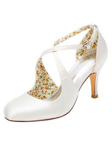 خمر أحذية الزفاف عالية الكعب مضخات العاج الصليب الجبهة الكاحل حزام أحذية الزفاف