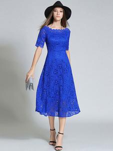 Vestido de renda estilo vintage vestido de skater recortado azul royal feminino
