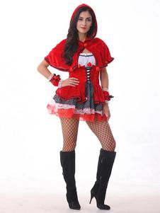 Disfraz Carnaval Traje halloween traje poco Caperucita Roja campana adultos mujeres Sexy de Cosplay vestido rojo con capucha Halloween Carnaval