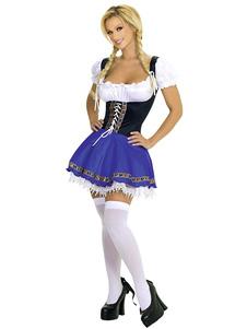 Сексуальный пиво девушка костюм Хэллоуин женщин Lace-up цвет блока платье Хэллоуин
