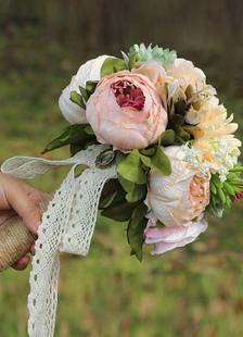 Suculentos Bouquet Flores de seda do laço do casamento Bouquet de noiva de mão atada de joias