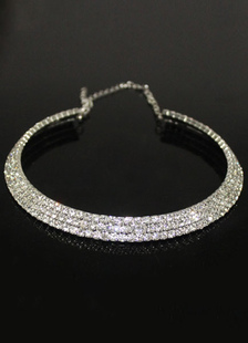 Серебряная свадьба ожерелье круглый горный хрусталь Свадебные украшения