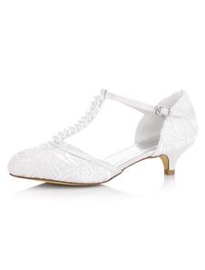 أحذية الزفاف الأبيض هريرة كعب اللؤلؤ من الساتان T- نوع أحذية الزفاف أحذية خمر