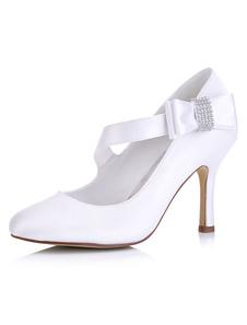 خمر أحذية الزفاف الأبيض عالية الكعب ماري جين مضخات جولة تو القوس أحذية الزفاف