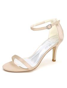 Casamento branco sapatos sandálias tornozelo cinta do dedo do pé aberto nupcial sapatos de salto alto