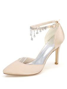 الأبيض أحذية الزفاف عالية الكعب الكاحل الشريط أشار تو الراين أحذية الزفاف