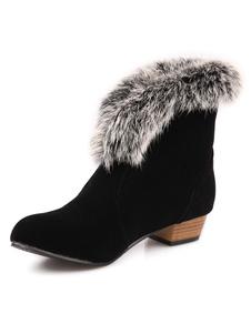 Stivaletto nero donna di turno Toe eco-pelliccia stivali tacco a breve