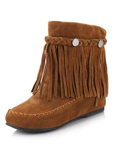 Бахромой богемной пинетки женщин круглый носок плоские скотнице короткие сапоги