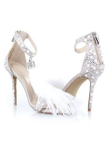 Высокие каблуки сандалии белые выпускные туфли Открытые носки стразы лодыжки ремешок вечерняя обувь