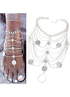 Vintage praia de prata pulseira feminino em camadas corrente tornozeleira