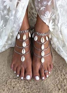 Concha de praia de prata pulseira feminina em camadas tornozeleira
