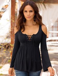 T-shirts de mujer 2020 negra de manga larga con cuello en v Open femenino blusas plisadas de hombro