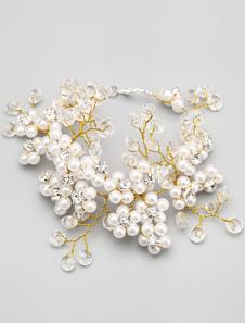 Pulsera novia perlas oro cristal hecho a mano con encanto pulsera de novia