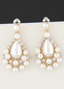 アクセサリー 耳飾り パーティー ウェディング ウエディング ホワイト 合金 模造真珠 ピアス ドロップス(Drops) 女性用