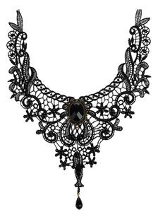 Gothic Lolita collar negro de encaje de corte corazón y Collar de gargantilla Lolita flor