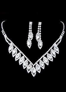Bodas de plata joyería del Rhinestone nupcial conjunto perforado redondeos brillantes aretes y collar
