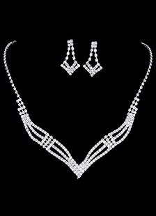 Наборы для новобрачных ювелирные изделия Серебряные горный хрусталь геометрические пирсинг свадьбы ожерелье и серьги