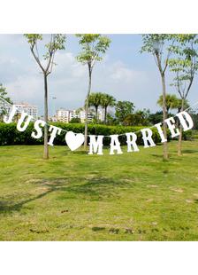 White Wedding decorazioni carta perlata nastri appena sposato Banner