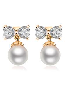 Brincos de pérola gota branca arco Zirconia Bridal joias de casamento
