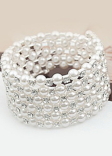 Серебряный жемчуг Браслет Свадебные ювелирные изделия Кристалл Стразы Великий Gatsby Ювелирные изделия