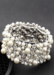 اللؤلؤ الزفاف سوار الأبيض خمر الطبقات حجر الراين مجوهرات الزفاف