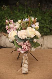 Свадебные цветы букет руку связали Изукрашенный свадебный шелковые цветы Луки
