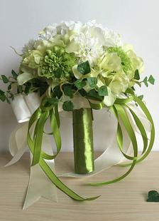 الزفاف باقة زهرة الغابات الخضراء التعادل الحرير زهرة باقة الزفاف
