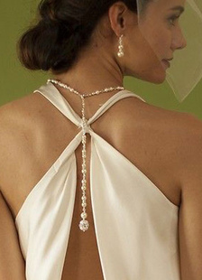 Collar de telón de fondo de la boda joyería nupcial de la perla de blanco