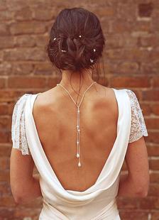 Фон ожерелье галстук Лариат жемчужина кристалл для новобрачных свадебное ожерелье