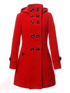 Gabardina Roja De Doble Botonadura Con Capucha Mangas Largas Abrigos Mujer De Lana