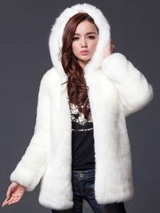 Faux Fur Coat Women White с длинным рукавом с капюшоном Зимнее пальто