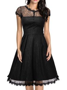 Encaje Vintage vestido gorra negra manga corta semi pura colmena una línea acampanada Vestido