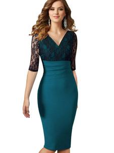 Vestito aderente da donna 2020 Vestito aderente verde con scollo a V Abito mezze maniche a pipistrello in pizzo con vestibilità slim