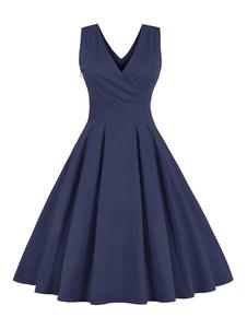 Vestiti Anni 50 monocolore Abiti donna smanicato abiti anni 50 Blu con annodature con scollo a V Cotone misto Estate Autunno abito alla moda