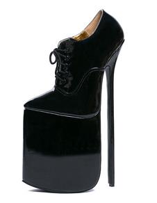 Сексуальные высокие каблуки черные платформы зашнуровать кожаные ботинки для женщин