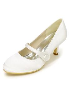 خمر أحذية الزفاف الأبيض ماري جين الكعوب زر جولة تو أحذية الزفاف