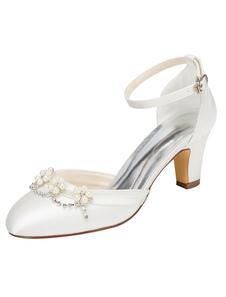 العاج أحذية الزفاف مكتنزة كعب جولة تو حزام الكاحل اللؤلؤ الكريستال أحذية الزفاف