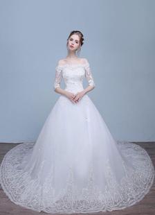 Кружева свадебное платье от плеча до локтя горный хрусталь-Line блестками свадебное платье с поездом