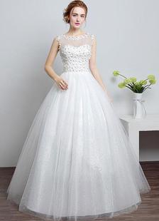Principessa Abito da sposa avorio scollo a cuore illusione tagliato fuori piano lunghezza abito da sposa con strass fiori