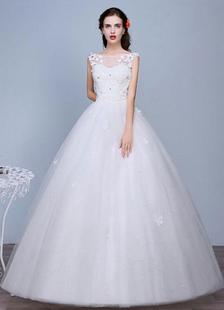 Avorio senza maniche semi-velato gioiello scollatura pizzo a-line piano lunghezza abito da sposa