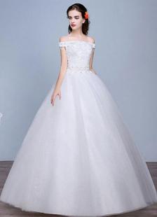 Fuori lo spalla pavimento lunghezza pizzo Applique abito da sposa con perline paillettes Abito da sposa