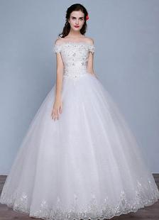 Fuori il pizzo paillettes piano lunghezza Lace-up a-line abito da sposa da sposa tulle