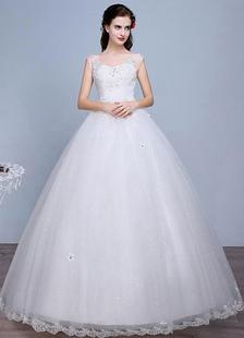 Слоновой кости свадебное платье кружево без рукавов V шеи стразами бисером этаж Длина свадебное платье